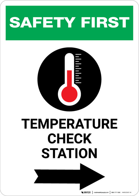 Safety First: Temperature Check Station Right with Icon Portrait - Wall Sign