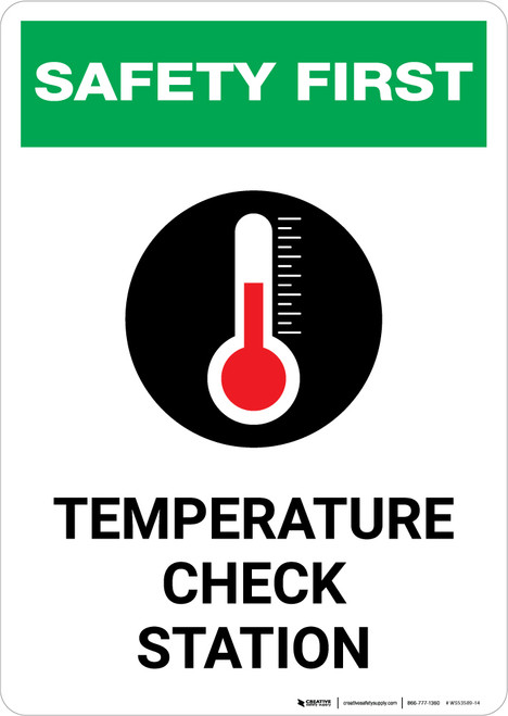 Safety First: Temperature Check Station with Icon Portrait - Wall Sign