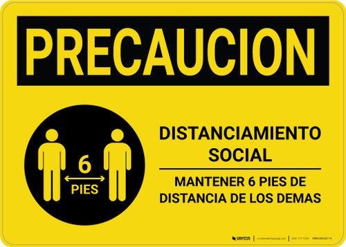 Caution Precaucion: Social Distancing 6ft. Spanish with Icon Landscape - Wall Sign