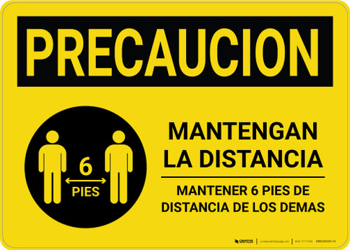 Caution Precaucion: Stay Safely Apart Spanish with Icon Landscape - Wall Sign