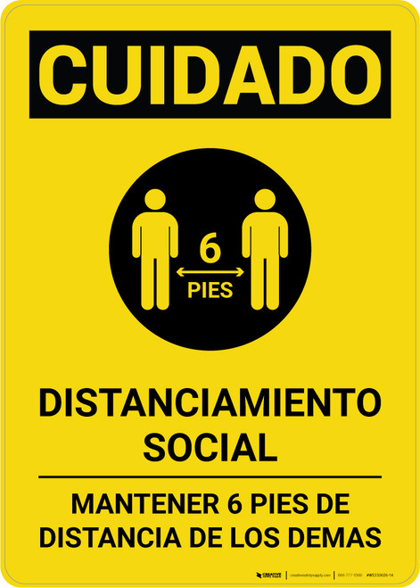 Caution: Social Distancing 6ft. Spanish with Icon Portrait - Wall Sign