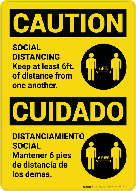 Caution: Social Distancing Keep 6ft. Bilingual with Icon Portrait - Wall Sign