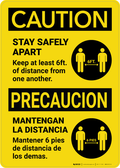 Caution: Stay Safely Apart Bilingual with Icon Portrait - Wall Sign