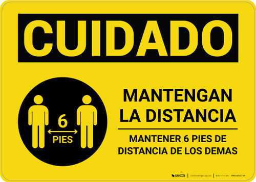 Caution: Stay Safely Apart Spanish with Icon Landscape - Wall Sign
