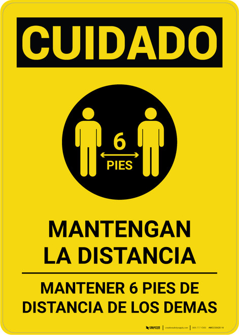 Caution: Stay Safely Apart Spanish with Icon Portrait - Wall Sign