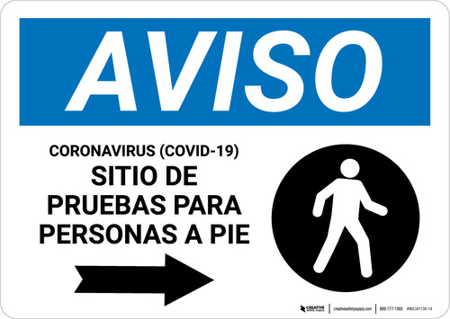 Notice: Coronavirus Testing Site Walk Up Testing Right Spanish with Icon Landscape - Wall Sign