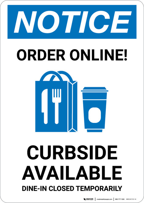 Notice: Order Online Curbside Available with Icon Portrait - Wall Sign