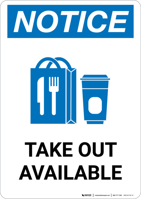 Notice: Take Out Available with Icon Portrait - Wall Sign