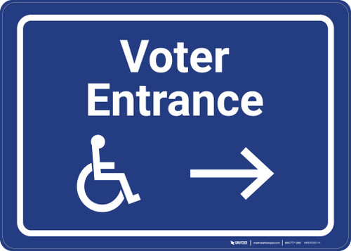 Accessible Voter Entrance Right with ADA Icon Landscape - Wall Sign