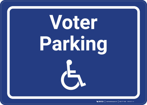 Accessible Voter Parking with ADA Icon Landscape - Wall Sign