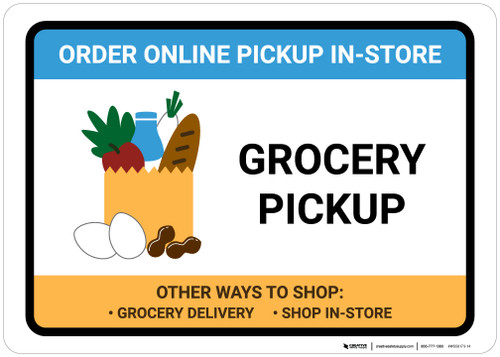 Grocery Pickup Order Online Pickup In-Store with Icon Landscape - Wall Sign