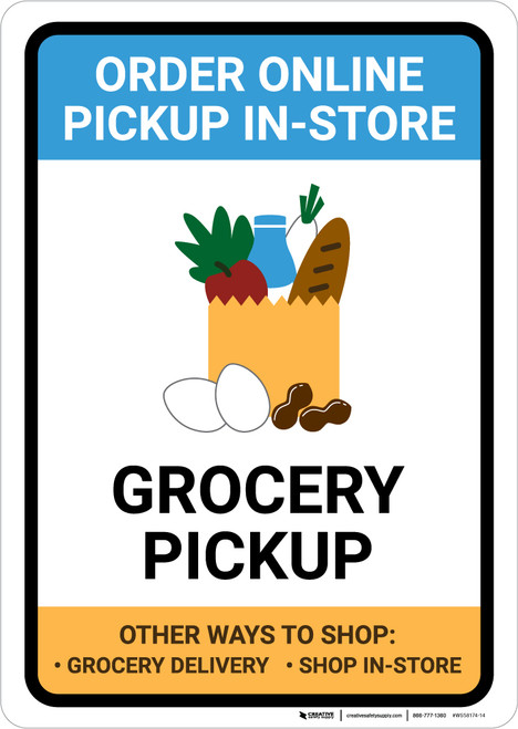 Grocery Pickup Order Online Pickup In-Store with Icon Portrait - Wall Sign