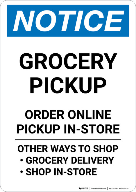 Notice: Grocery Pickup Order Online Pickup In Store Portrait - Wall Sign