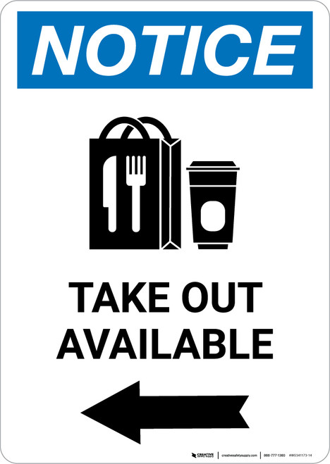 Notice: Take Out Available Left with Icon Portrait - Wall Sign
