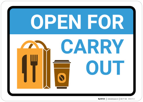 Open For Carry Out with Icon Landscape - Wall Sign