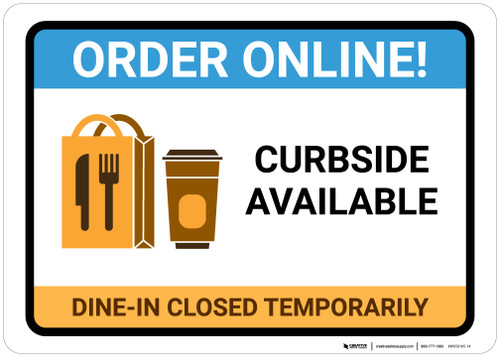 Order Online Curbside Available with Icon Landscape - Wall Sign