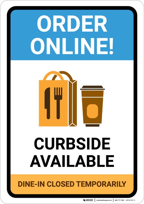 Order Online Curbside Available with Icon Portrait - Wall Sign