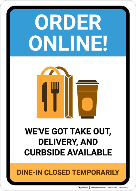 Order Online Takeout Delivery and Curbside Available with Icon Portrait - Wall Sign