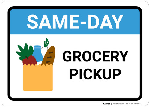 Same Day Grocery Pickup with Icon Landscape - Wall Sign