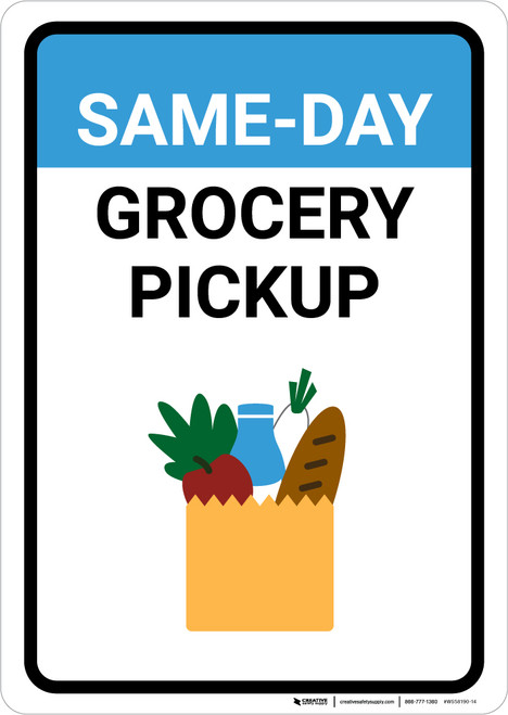 Same Day Grocery Pickup with Icon Portrait - Wall Sign