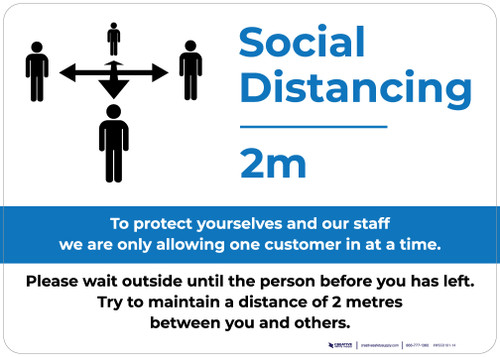 Social Distancing 2m One Customer At A Time with Icon Blue Landscape - Wall Sign