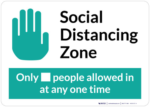 Social Distancing Zone Maximum People Allowed with Icon Landscape - Wall Sign