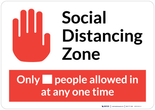 Social Distancing Zone Maximum People Allowed with Icon Red Landscape - Wall Sign