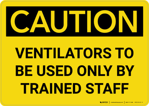 Caution: Ventilators To Be Used Only By Trained Staff Landscape - Wall Sign