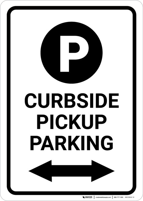Curbside Pickup Parking Bidirectional Arrow with Icon Portrait - Wall Sign