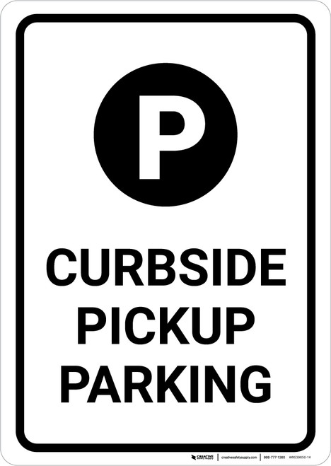 Curbside Pickup Parking with Icon Portrait - Wall Sign