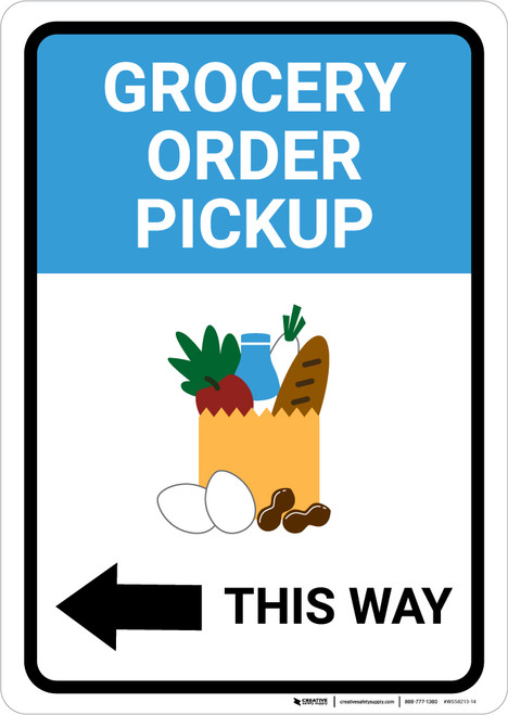 Grocery Order Pickup Left Arrow with Icon Portrait - Wall Sign