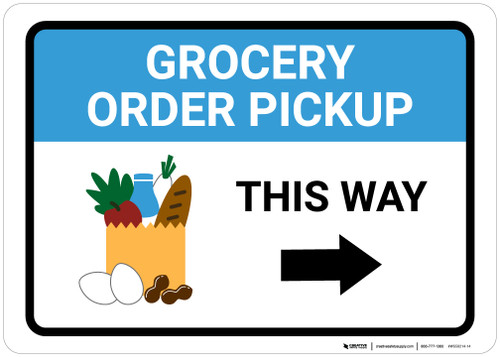 Grocery Order Pickup Right Arrow with Icon Landscape - Wall Sign
