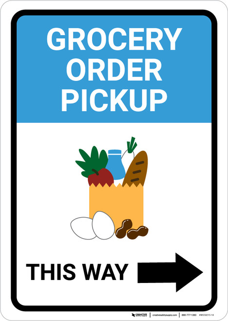 Grocery Order Pickup Right Arrow with Icon Portrait - Wall Sign