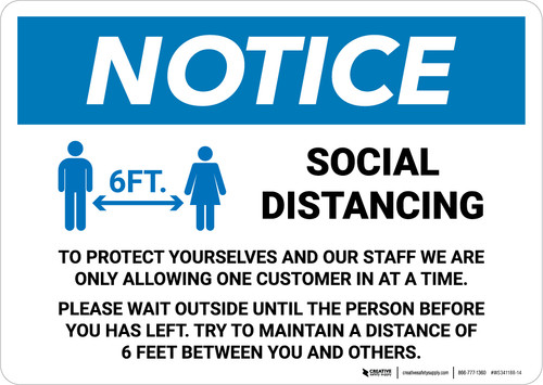 Notice: Social Distancing One Customer At A Time with Icon Landscape - Wall Sign
