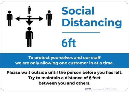 Social Distancing 6ft One Customer At A Time with Icon Blue v2 Landscape - Wall Sign