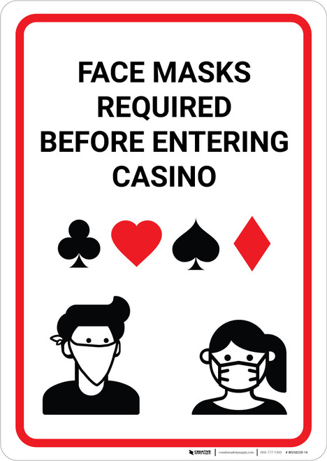 Face Masks Required Before Entering Casino Portrait - Wall Sign
