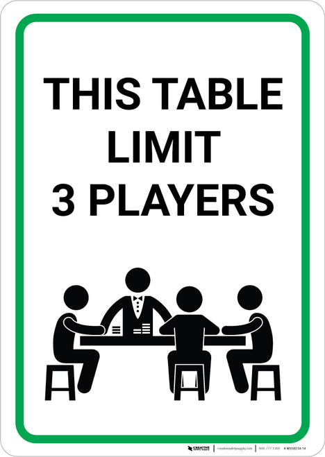 This Table Limit 3 Players with Poker Icon Portrait - Wall Sign