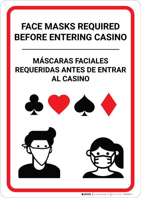 Face Masks Required Before Entering Casino Bilingual Spanish Portrait - Wall Sign