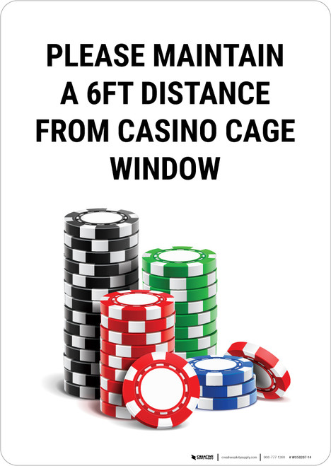 Please Maintain a 6ft Distance from Casino Cage Window Portrait with Emoji - Wall Sign