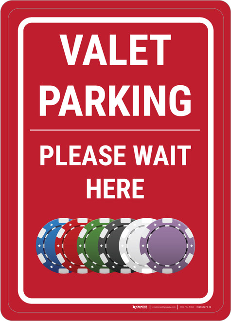 Casino Valet Parking - Please Wait Here Portrait with Emoji - Wall Sign