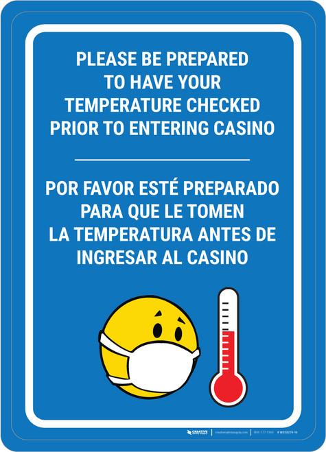 Temperature Check Prior to Entering Casino Bilingual Portrait with Emoji - Wall Sign