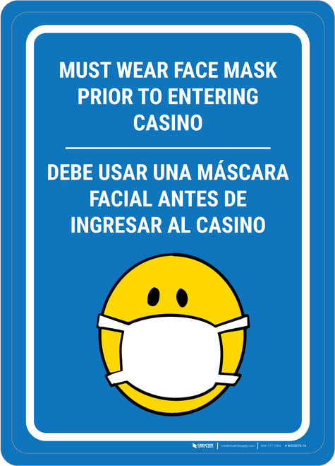 Must Wear Face Mask Prior to Entering Casino Bilingual Portrait with Emoji - Wall Sign