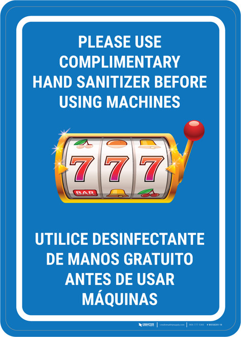 Please Use Complimentary Hand Sanitizer Before Using Machines Bilingual Portrait with Emoji - Wall Sign