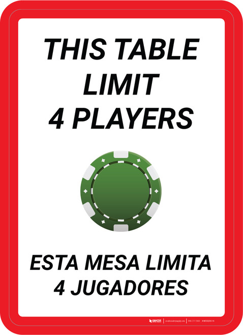 This Table Limit 4 Players Bilingual Portrait with Poker Chip Emoji - Wall Sign