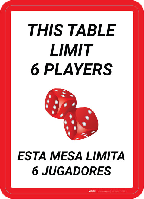 This Table Limit 6 Players Bilingual Portrait with Dice Emoji - Wall Sign