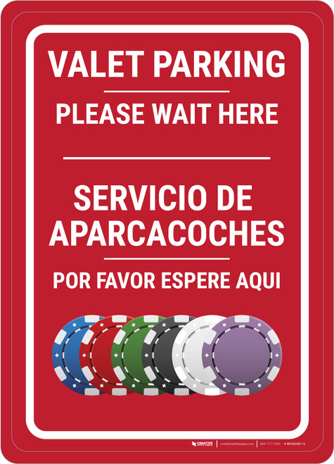 Casino Valet Parking - Please Wait Here Bilingual Portrait with Emoji - Wall Sign
