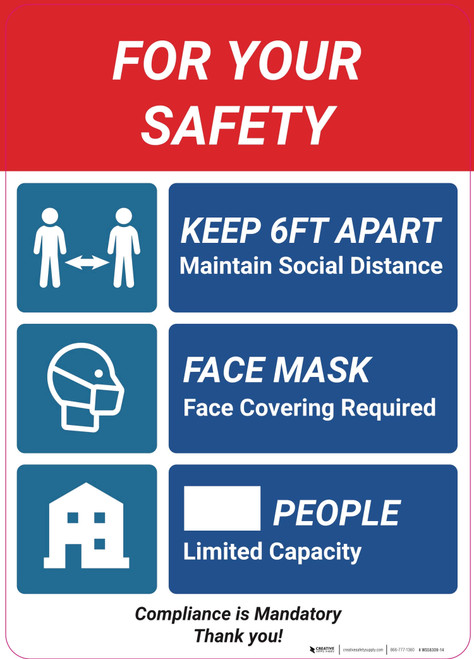 For Your Safety Social Distancing Multi-sign - Wall Sign