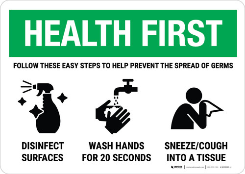 Health First: Easy Steps To Prevent Germs Landscape - Wall Sign