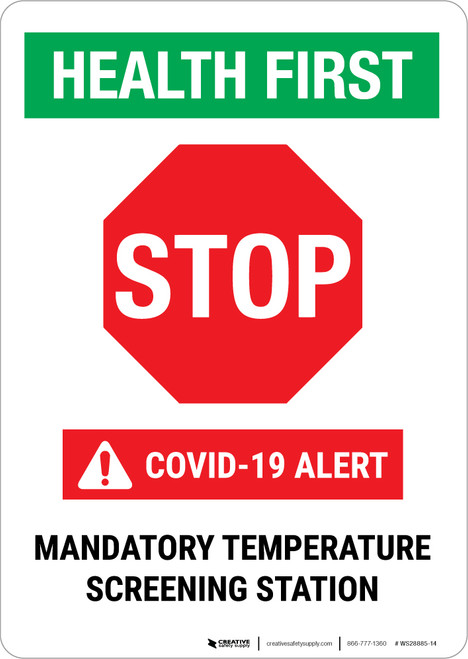 Health First: Stop - Mandatory Temp Screening Portrait - Wall Sign