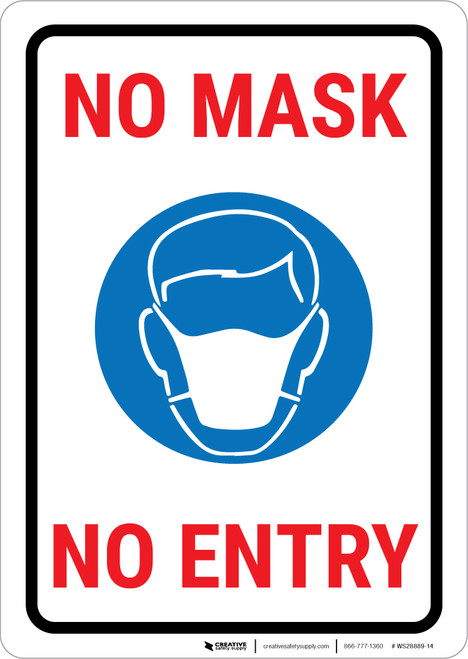 No Mask - No Entry Landscape - Wall Sign